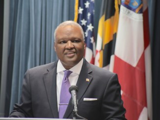 Prince George's County Executive Rushern L. Baker III presents his final budget proposal as executive at the county administration building in Upper Marlboro on March 14. (Demetrious Kinney/The Washington Informer)