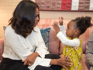 Michelle Obama invited 2-year-old Parker Curry and her mother to her D.C. office this week. (Courtesy of Michelle Obama via Instagram)