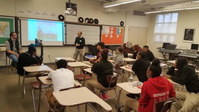 Students from Thurgood Marshall Academy learn about rights advocacy from ACLU lawyers and keynote speakers during a recent field trip. (Courtesy of TMA)