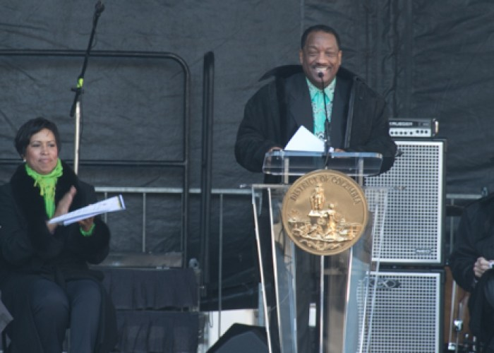 Radio personality Donnie Simpson was the emcee at the Marion Barry Jr. statue unveiling held Saturday, March 3 on Pennsylvania Avenue at the John Wilson District Building in Northwest. (Shevry Lassiter - The Washington Informer)