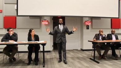 Nick Fratino, Kelly Cantley and Ward 8 Council member Trayon White speak during a panel discussion on affordable housing in new developments in Ward 8 at the RISE Demonstration Center in D.C. on March 27. (Brigette White/The Washington Informer)