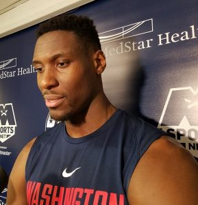 Washington Wizards center Ian Mahinmi speaks with reporters after practice at Capital One Arena in D.C. on March 12. (William J. Ford/The Washington Informer)