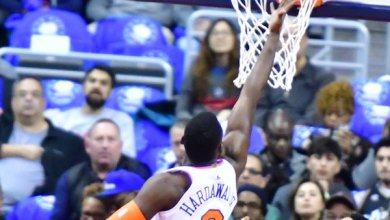 New York Knicks small forward Tim Hardaway Jr. attempts a layup during the Knicks' 101-97 win over the Washington Wizards at Capitol One Arena in D.C. on March 25. (John De Freitas/The Washington Informer)