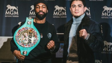 Gary Russell Jr. (left) will defend his WBC featherweight title against Joseph Diaz at the MGM National Harbor on May 19. (Rosie Cohe/Showtime)
