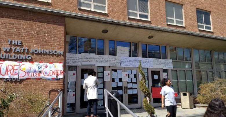 The Howard University Administration Building, dubbed by student protesters as the Kwame Ture Student Center, has been the scene of a dayslong sit-in. (Mark Beckford/Howard University News Service)
