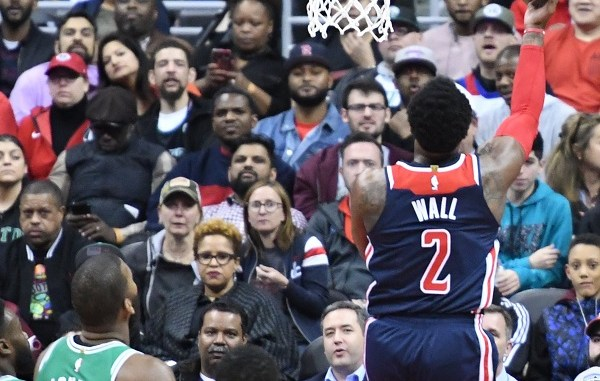 Washington Wizards guard John Wall drives for a layup attempt during a 113-101 win over the Boston Celtics at Capital One Arena in D.C. on April 10. (John De Frietas/The Washington Informer)