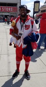 Markus Jackson of Dumfries, Virginia, stands outside Nationals Park in southeast D.C. before the Washington Nationals' 2018 home opener against the New York Mets on April 5. (William J. Ford/The Washington Informer)