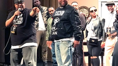 """Vernon Williams III (left) and Lovail Long greet the audience after a performance of """"What a Man Won't Do"""" at the Lincoln Theatre on March 31. (Shevry Lassiter/The Washington Informer)"""