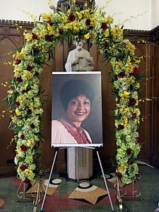 A portrait of Winnie Mandela is seen during a memorial service at the Dunbarton Chapel on the campus of Howard University in D.C. on April 12. (Roy Lewis/The Washington Informer)