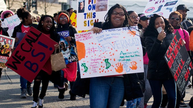 The March for Our Lives rally on March 24, 2018 drew thousands of protesters, many of them students, on Constitution Avenue in northwest D.C. (Shevry Lassiter/The Washington Informer)