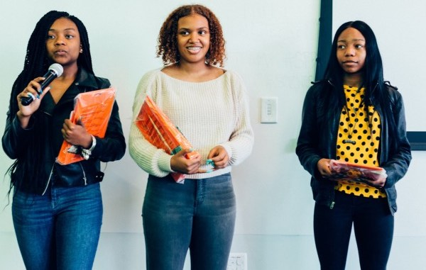 "Banneker High School students Bria Snell, India Skinner and Mikayla Sharrieff of ""S3 Trio,"" finalists in the national NASA competition (Courtesy of In3)"