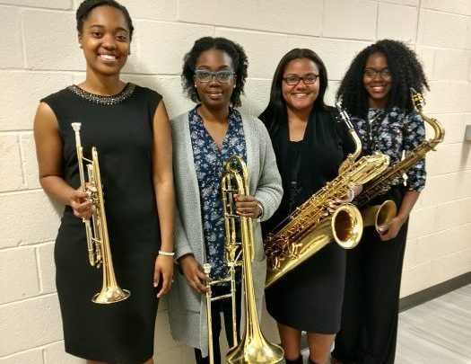 The Ladies of the Howard University Jazz Ensemble (from left) Jalissa Douglas on trumpet, Krystal Campbell on trombone, Dionne Ledb etter on baritone sax and Sterlyn Termine on alto sax. (Brenda C. Siler/The Washington Informer)