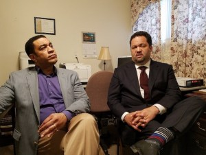 Maryland gubernatorial candidate Ben Jealous (right) talks about his campaign before a May 18 rally at Sylvan Vista Baptist Church in Fairmount Heights as actor and activist Harry Lennix listens. (William J. Ford/The Washington Informer)