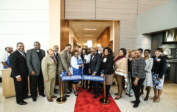 PGCC President Charlene Dukes, Board of Trustees, faculty, staff and county officials gather for the new Culinary Arts Center ribbon-cutting on April 19.