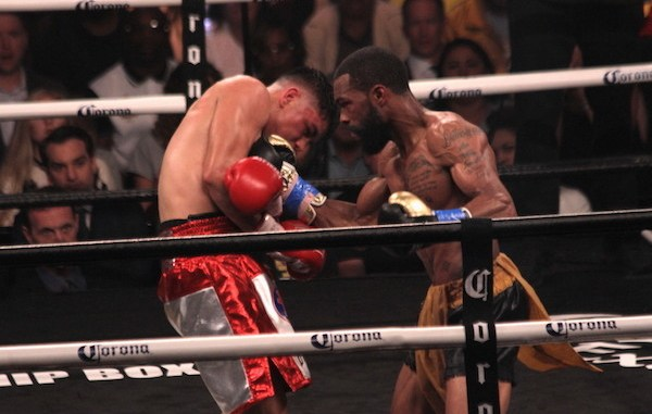"Gary Russell Jr. successfully defended his WBC featherweight championship with a unanimous decision over Joseph ""JoJo"" Diaz Jr. at MGM National Harbor in Oxon Hill, Maryland, on May 19. (Mike Greenhill)"
