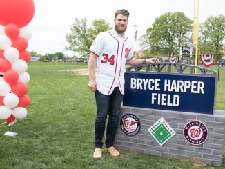 Bryce Harper at the dedication of the new Bryce Harper Field in Takoma Park. (Shevry Lassiter/The Washington Informer)