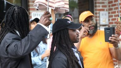 D.C. Council member Trayon White holds a press conference on MLK Avenue May 17 to discuss violence in the community after a teen's murder in Southeast. (Shevry Lassiter/The Washington Informer)
