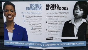 A flier distributed to Prince George's County households by a super PAC on behalf of former Rep. Donna Edwards accuses Prince George's County State's Attorney Angela Alsobrooks of working alongside developers. (William J. Ford/The Washington Informer)