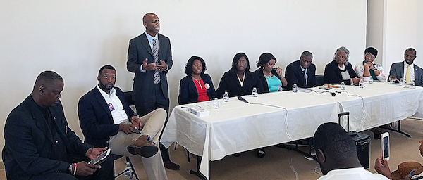 Delegate Erek Barron introduces himself during a May 12 candidates' forum hosted by the Balk Hill Village Homeowners Association. (William J. Ford/The Washington Informer)