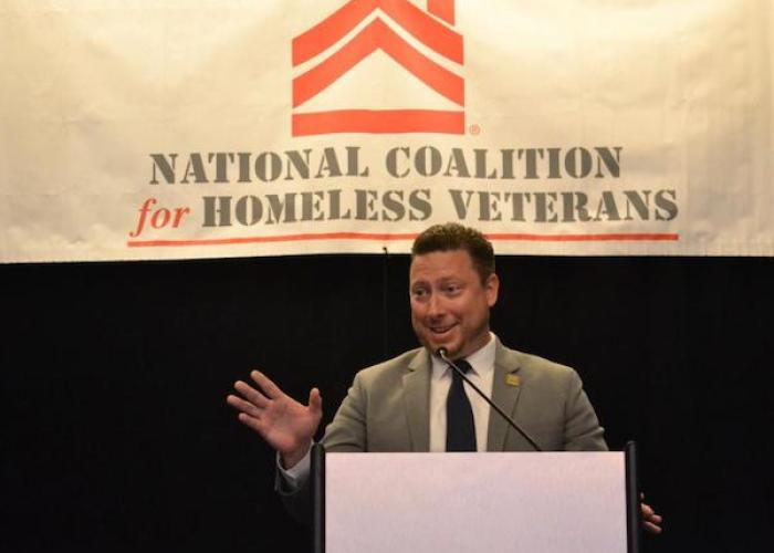Ely Ross, director of D.C. Mayor's Office of Veterans Affairs, speaks during the National Coalition for Homeless Veterans conference at the Grand Hyatt Hotel in northwest D.C. on May 30. (Brigette White/The Washington Informer)