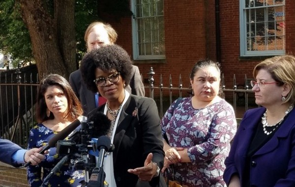 Maryland Democratic gubernatorial hopeful Valerie Ervin speaks with reporters outside the Anne Arundel County Courthouse in Annapolis on June 4 after a judge denied her request to reprint primary election ballots to add her and running mate Marisol Johnson as candidates. (William J. Ford/The Washington Informer)