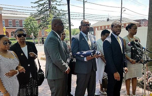 Jason G. Downs, attorney for family of the late Prince George's County Detective Jacai Colson, answers questions from reporters on June 14 about a wrongful death lawsuit filed against the county and the fellow police officer who fatally shot Colson during a 2016 ambush on a police station. (William J. Ford/The Washington Informer)