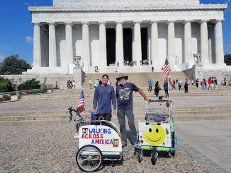 Brett Bramble and John Azerolo at the Lincoln Monument (Courtesy photo)