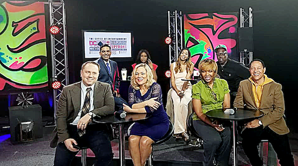 "The hosts of television shows from OCTFME's summer lineup are introduced at a May 23 event. First row, from left: Matt Granato and Cicely Fernandez, co-hosts of ""We Are Washington,"" Michel Wright and Ferman Patterson, co-hosts of ""The 202."" Second row, from left: Pedro Biaggi, host of ""Cambios de Vida,"" Mahogany Lyles, host of ""I Wish You Knew,"" Britt Waters, host of ""The Sound,"" and Dion Dove, host of ""Display."" (Courtesy of OCTFME)"