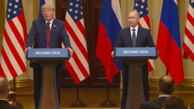 U.S. President Donald Trump (left) and Russian President Vladimir Putin hold a joint press conference in Helsinki after a private meeting on July 16.