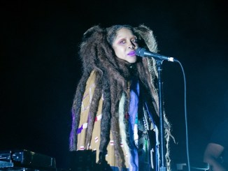 Erykah Badu surprised concertgoers by showing up only a few minutes late wearing ghoulish makeup and a matted locs wig, singing to the high heavens to the crowd's delight at the 2018 Summer Spirit Festival at Merriweather Post Pavilion in Columbia, Md. on Saturday, Aug. 4. (Shevry Lassiter/The Washington Informer)