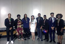 From left: Prince George's County high school students Caleb Clark, Tara Coates, Shayla Brickhouse, Gabriella Barnes, Christian Randall, Langston Hughes II, Jeremiah Smith and Cayla Hall are honored at the NAACP's annual convention in San Antonio. (Courtesy of Prince George's NAACP ACT-SO)