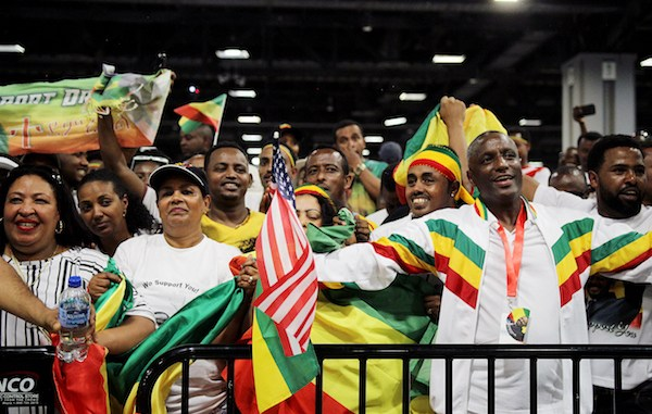 With nearly 300,000 Ethiopian immigrants living in the D.C. area, the largest group of Ethiopian-born people in the U.S., thousands came to hear Ethiopian Prime Minister Dr. Abiy Ahmed's message delivered at the Washington Convention Center on July 28. (Photo by John Simms)