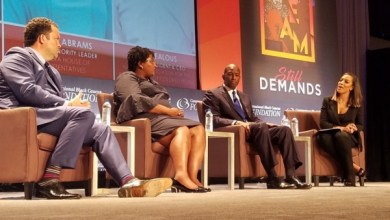 CNN political commentator Angela Rye (right) moderates a forum with Black gubernatorial candidates (from left) Ben Jealous, Stacey Abrams and Andrew Gillum during the Congressional Black Caucus Foundation's Annual Legislative Conference at the Walter E. Washington Convention Center in D.C. on Sept. 13. (William J. Ford/The Washington Informer)