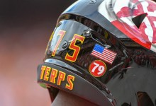 **FILE** A view of the helmet of Maryland Terrapins offensive lineman Terrance Davis (75) with a sticker to commemorate the death of Jordan McNair (79) earlier this year on September 1, 2018, at FedEx Field in Landover, MD. The Maryland Terrapins defeated the Texas Longhorns, 34-29. (Photo by Mark Goldman/Icon Sportswire via Getty Images)