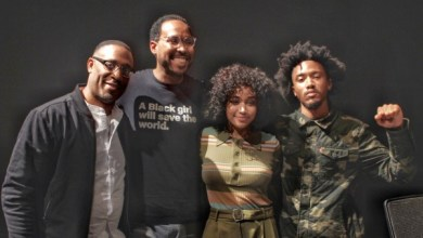 """From left: George Tillman, David Johns, Amandla Stenberg and Bobby Sessions participate in a panel discussion about the movie """"The Hate U Give"""" with students at the Smithsonian in D.C. on Sept. 24. (Brigette Squire/The Washington Informer)"""