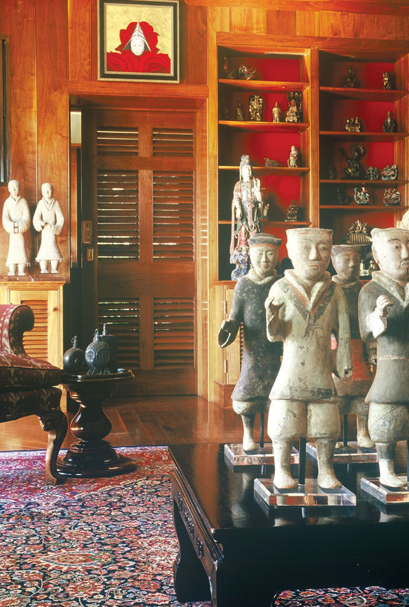 Terracotta warriors invade the library - the antique statues were purchases by Steiner in Hong Kong.