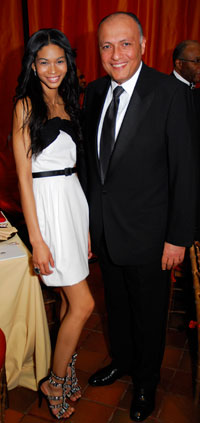 Chanel Iman and Egyptian Ambassador Sameh Shoukry
