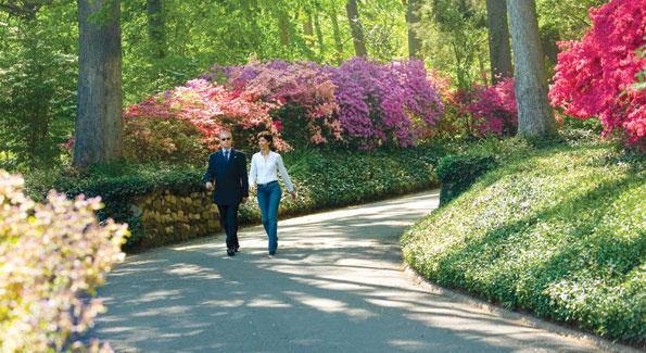 talian Ambassador Giovanni Castellaneta and his wife, Lila, stroll up their driveway.