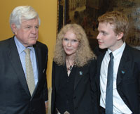 Sen. Ted Kennedy, Mia Farrow, and Ronan Farrow