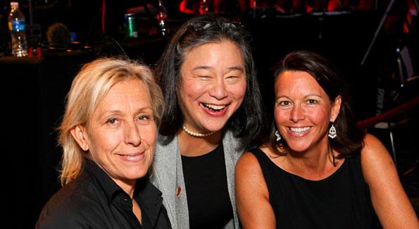 Martina Navratilova, Tina Chen, and guest. (Photo by Tony Powell)