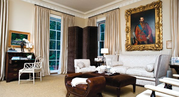 Dominated by an ornately framed portrait of Czar Alexander II and featuring a velvet folding screen once owned by the late Katharine Graham, this former ballroom is now a perfect space for contemporary entertaining.
