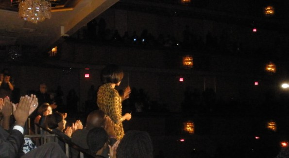 The First Lady of the United States is acknowledged by Stevie Wonder and the audience at the Kennedy Center.