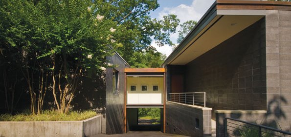 The back entrance to the modern Glen Echo home.