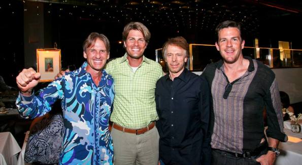 Mark Goode, Chet Lott, Jerry Bruckheimer, Andrew Bullion at Mr. Chow. Photo by Tony Powell