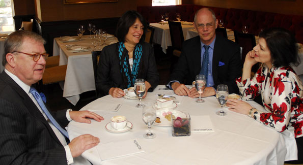 A-List lunching at the Jockey Club with (left to right): Michael Barone (The Washington Examiner), Susan Watters (Women's Wear Daily), Kevin Chaffee (Washington Life) and Roxanne Roberts (The Washington Post). (Photo by Kyle Samperton)