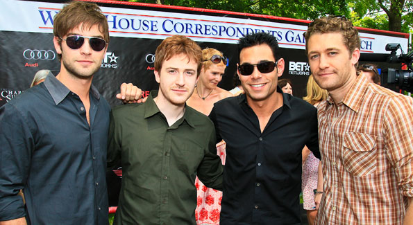 Gossip Girl's Chase Crawford, actor Joe Mazzello, producer Eric Podwall, Glee's Matthew Morrison. Photo by Tony Powell. Tammy Haddad WHCAD Garden Brunch. May 1, 2010