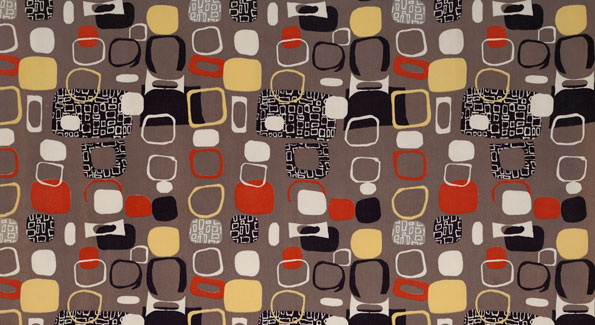 Untitled (Pebbles), (detail), ca. 1952. Jacqueline Groag. Manufactured by David Whitehead, Ltd. Jill A. Wiltse and H. Kirk Brown III Collection of British Textiles.