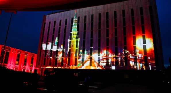 Projected images grace the Facade of the Embassy. <i>Photo by Tony Powell.</i>