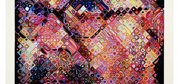 Chuck Close, Self-Portrait, 2000. 111-color silk screen, 65 ½ x 54 inches, edition of 80. Brand X Editions, printer (Robert Blanton, Thomas Little). Pace Editions, Inc., New York, publisher. Courtesy of the artist and Pace Editions, Inc.