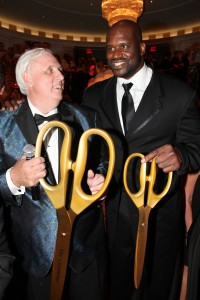 Jim Justice and Shaquille O'Neal share a light moment at the Casino Club's ribbon cutting.  Courtesy Photo/The Greenbrier